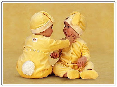 funny Twin babies in rabbit costume