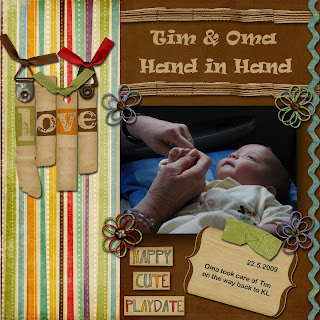 Timmy hand in hand with Oma (Grandma)