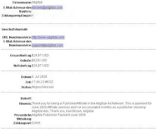 Adgitze payment proof June 2009