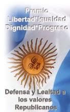 Premio Libertad, Igualdad, Dignidad, Progreso. Recibido del Movimiento Argenlibre