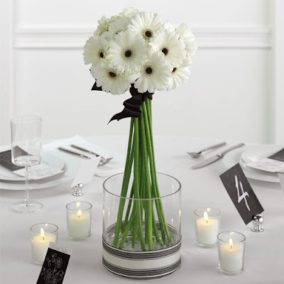 A beautiful bridal bouquet for winter Black white gerbera daisies