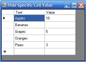 DataGridView with blank values in cells