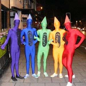 crayons a good group costume is to get all your mates to choose a different colour of morphsuit make pointy caps out of coloured construction paper to - Morphsuits Halloween Costumes