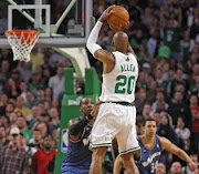 Celtics guard Ray Allen launches a 3-pointer