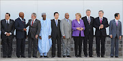 An assembly of world leaders stood side by side on July 10, 2009.