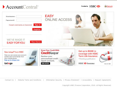 Account Central,  www.AccountCentralOnline.com, HSBC Online, AccountCentralOnline.com Login, Account Central login