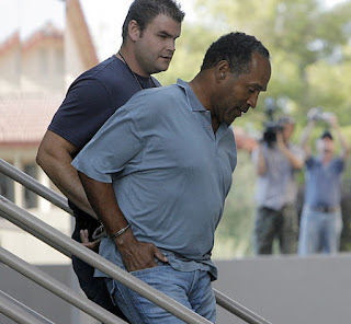 Football legend O.J. Simpson was arrested in Las Vegas for an alleged commando-style retaking of his own sports memorabilia.  The former Hertz spokesman is again in jail, harkening to his days of being accused for the murder of his wife, Nicole Brown Simpson and her friend, Ron Goldman.