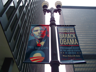 Chicago street banners congratulating Barack Obama