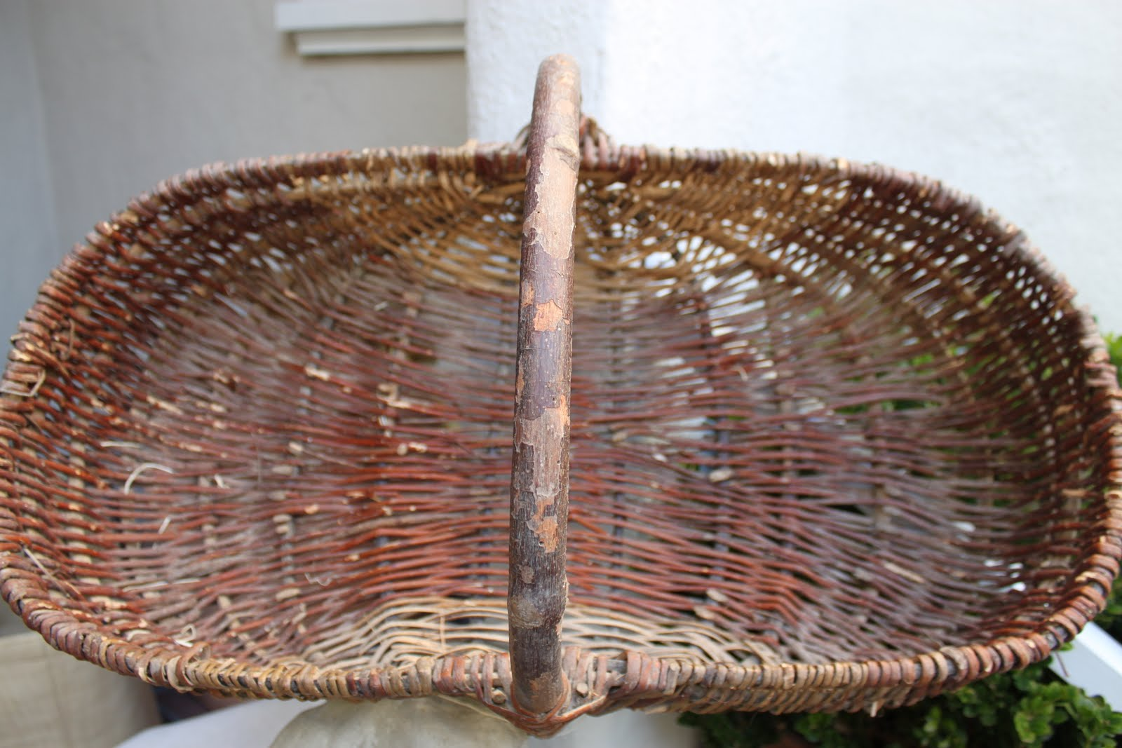 ... Home With A Great Vintage Wine Gathering Basket Or Panier De Vendange  From The Champagne Region; I Love This One; It Is Medium Size So Very  Versatile~