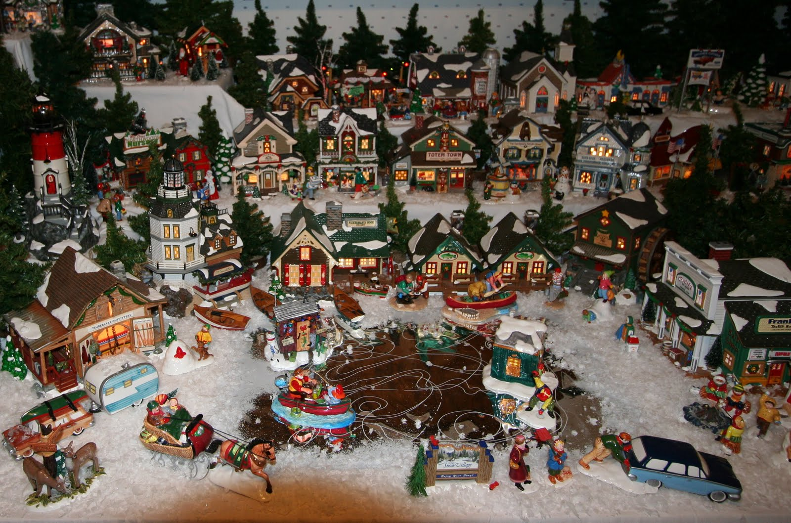 Fiber Optic Christmas Village Set