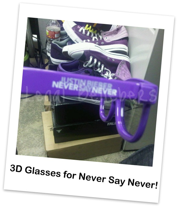 3D glasses that will be available to use during his film Never Say Never