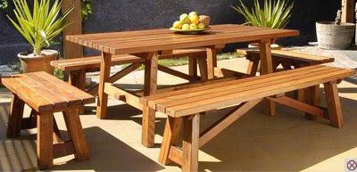 muebles de madera: comedor de terraza