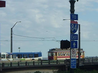 TriMet Bus and Vintage Trolley on Steel Bridge