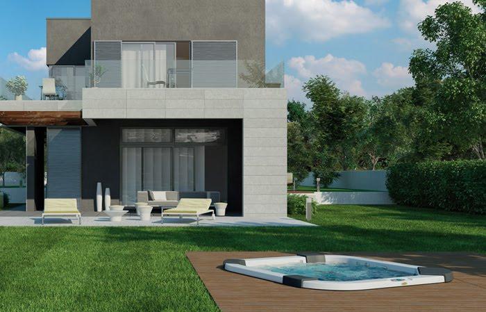 Casas minimalistas y modernas linea premium de jacuzzi for Imagenes de jacuzzi para exteriores