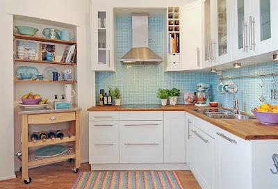 cocinas muebles blancos encimeras de madera