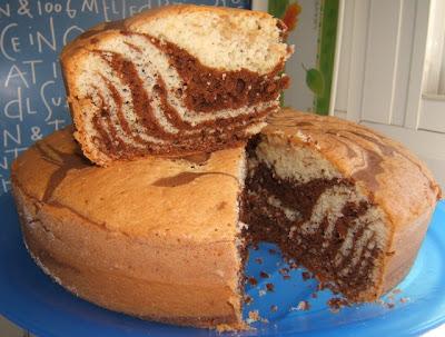 Bizcocho o torta marmolada cebra / Gâteau marbré zébré