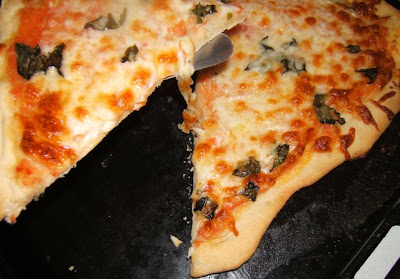 Pizza margarita fina con masa madre líquida / Pizza margherita fine avec levain liquide