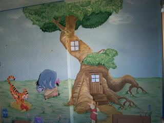 bawden fine murals winnie the pooh mural. Black Bedroom Furniture Sets. Home Design Ideas