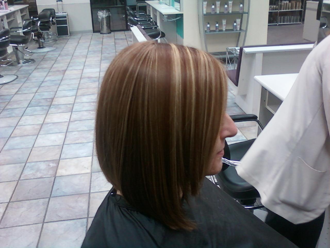 Inverted Bob Wig Chocolate Brown Blonde Highlights Keira | Dark Brown ...