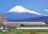 Cherry blossom, Mount Fuji, and Shinkansen