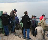 A tour party viewing the Sea of Galilee