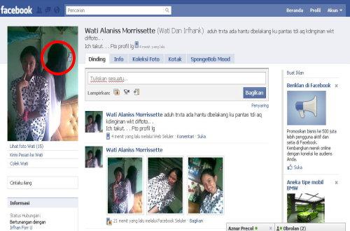 hantu facebook ini saya temukan disalah satu akun facebook teman