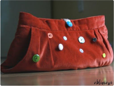 Reconstructed Velvet Skirt Clutch