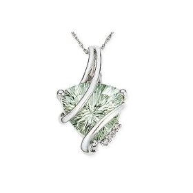 Trillion Cut Green Quartz and Diamond