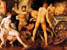 Afrodita con Eros y Cupido en el taller Hefestos