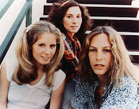 Virtuous teen Laurie Strode, pictured here with a slutty pair of impending corpses.