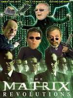 The Matrix films are social commentaries on a grand scale touching on many important modern philosophical, um, touchstones regarding the nature of belief, rationalization, free will, predestination, cookies, graphic sex and aimless violence.