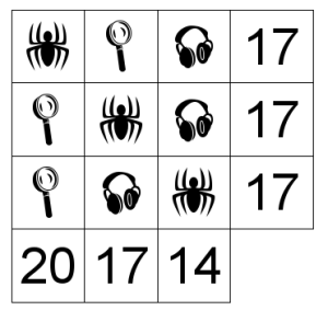 Tablero con símbolos