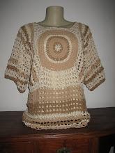 Blusa Mandala em crochê de algodão colorido