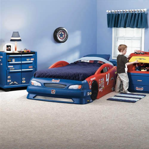 Child Bedroom Set Race Car Bed Toy Chest Box