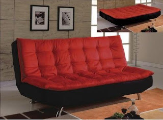 Red and Black Modern Tufted Futon Sofa Bed Furniture