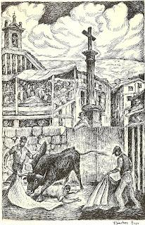 Toros en Candelario, Dibujo de Sanchez Bayo