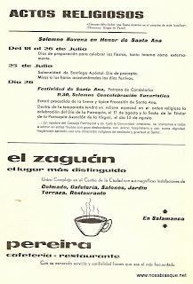 programa de fiestas 1974religiosos  de Candelario Salamanca