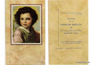 Recordatorio de ordenacion sacerdotal de D. Jose Antonio Rico natural de candelario salamanca