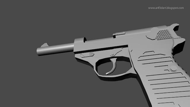 Side view 3d gun modeling