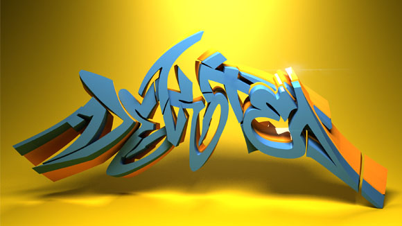 full 3D graffiti font