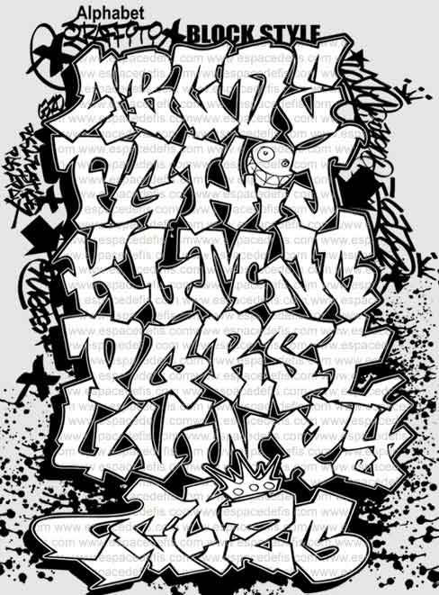 block+style+font+graffiti+alphabet+letter+A-Z. title=