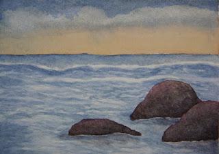 Watercolor Seascape Miniature - Landscape Painting