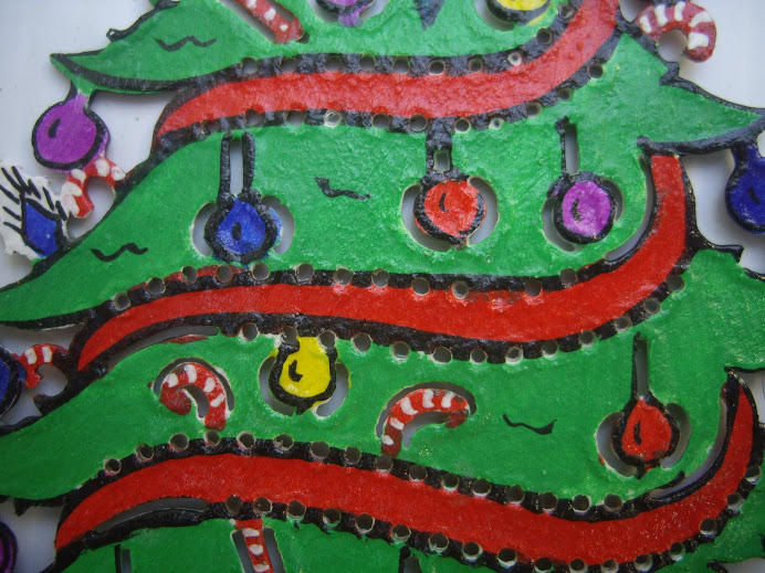 DECORATED CHRISTMAS TREE, HANDCRAFTED IN BALI, WAYANG-KULIT STYLE LEATHER WORKMANSHIP AND DESIGN