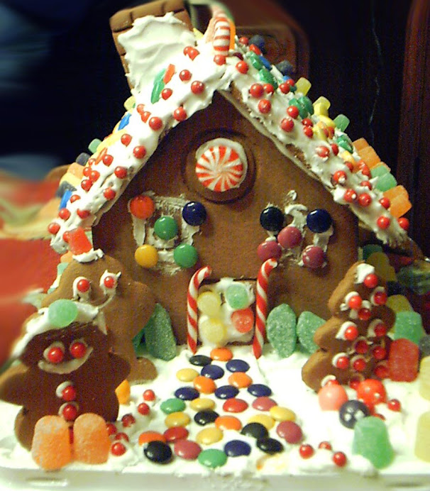ORNATE, COLORFUL GINGERBREAD HOUSE--NEW MODEL