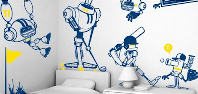 Well Oiled Robots League Sports Giant Wall Stickers