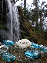 Logan's name at the waterfall