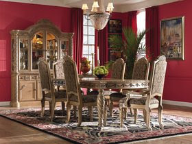 Dark Bronze Hard Wood Formal Dining Room Set