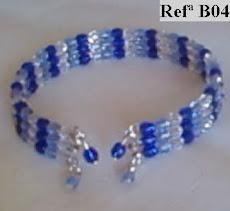 Refª B04 Pulseira com facetes azuis e brancos