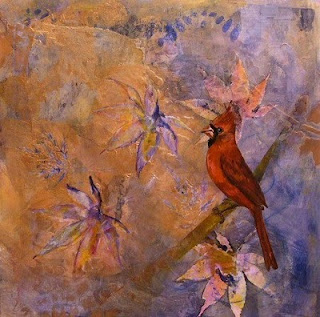 cardinal mixed media copper painting