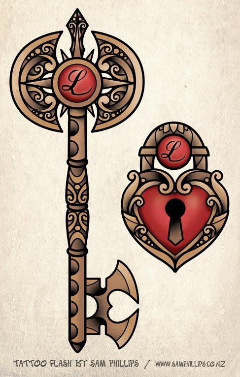 lock tattoos. key and lock tattoos